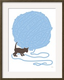 Blue Ball of Yarn Arte por  Avalisa