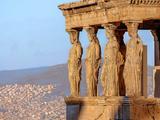 Caryatides, Acropolis of Athens Fotografisk tryk af Paul Panasevich
