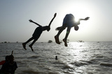 Sudanese Children Dive in River Nile in Khartoum Photographic Print by STR New