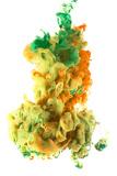 Ink Color Drop, Yellow Orange Green Photographic Print by  sanjanjam