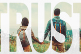 Double Exposure Word Trust with Image of Traveler Couple Stampa fotografica di  Remains