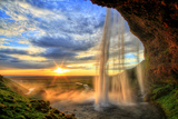Seljalandfoss Waterfall at Sunset in Hdr, Iceland Fotografie-Druck von  romanslavik com