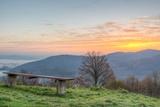 Sitting Bench with Sun Rising Stampa fotografica di  anzebizjan
