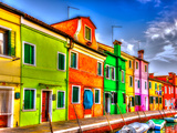 Colorful Houses in a Raw at Burano Island near Venice Italy. HDR Lámina fotográfica por imagIN photography