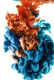 Ink Color Drop, Blue and Orange Photographic Print by  sanjanjam