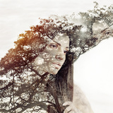 Double Exposure Magic Portrait of Sensual Beautiful Woman and Tr Fotografisk trykk av Asia Yakushevich