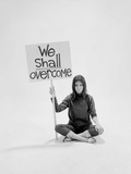"""Writer Gloria Steinem Sitting on Floor with Sign """"We Shall Overcome"""" Regarding Pop Culture Metal Print by Yale Joel"""