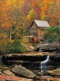Moulin à grains de Glade Creek, Virginie, États-Unis Art sur métal  par Ron Watts