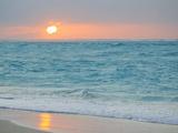 Sunset in Paradise over the Caribbean and on a Beach Metalltrykk av Mike Theiss