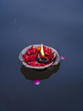 Flower Lamp on the Ganges River, Varanasi, India Metal Print by Keren Su