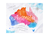Watercolor Map Australia Pink Blue Giclée-Druck von  anna42f
