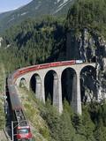 Glacier Express and Landwasser Viaduct, Filisur, Graubunden, Switzerland Metalltrykk av Doug Pearson