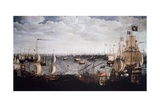 English Fleet Fighting Spanish Armada Off Coast of Calais in 1588 Giclée-Druck von Aert Van Antum