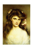 A Young Beauty with Flowers in Her Hair Giclée-tryk af Albert Lynch