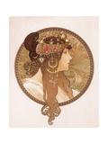 Byzantine Head of a Brunette; Tete Byzantine D'Une Brunette, C.1897 (Lithograph in Colours) Lámina giclée por Alphonse Mucha