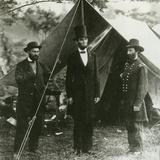 Abraham Lincoln with Allan Pinkerton and Major General John A. Mcclernand, 1862 Fotografisk tryk af Alexander Gardner