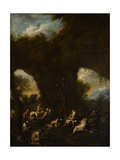 Monks Praying in a Grotto, C.1730 Giclée-tryk af Alessandro Magnasco