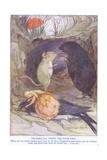 Thumbelina Tends the Poor Bird Gicléetryck av Anne Anderson