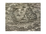 Naval Battle Near Le Pignon Island Giclee Print by Andre Thevet