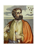 Portrait of Ferdinand Magellan (1480 - 1521) with Navigational Instruments. (Colour Litho.) Giclee Print by Andre Thevet