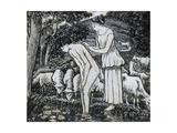 Chloë Washing Daphnis at a Stream Reproduction procédé giclée par Camille Pissarro