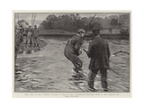 The Last of the Salmon, Playing a Fish in the Celebrated Willows Pool in the Border Esk Gicléedruk van Arthur Rackham