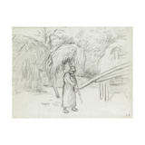 Study of a Female Peasant Carrying a Load of Hay in the Farmyard at Foucault, C. 1875 Reproduction procédé giclée par Camille Pissarro