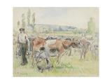 Compositional Study of a Milking Scene at Eragny-Sur-Epte, 1884 (Watercolour over Black Chalk) Reproduction procédé giclée par Camille Pissarro