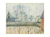 Landscape with Houses and Wall Reproduction procédé giclée par Camille Pissarro