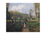 Peasant and Child Returning from the Fields Reproduction procédé giclée par Camille Pissarro