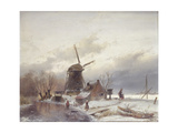 A Frozen River Landscape with a Windmill Giclee Print by Andreas Schelfhout