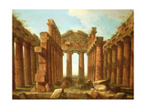 Figures Admiring the Temple of Neptune at Paestum Giclée-tryk af Antonio Joli