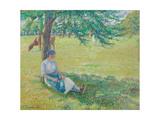 Cowgirl, Eragny; Gardeuse De Vaches, Eragny, 1887 (Gouache on Paper Laid Down on Board) Reproduction procédé giclée par Camille Pissarro