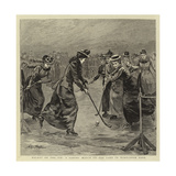 Hockey on the Ice, a Ladies' Match on the Lake in Wimbledon Park Giclee Print by Arthur Hopkins
