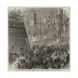Launch of the Screw-Corvette Druid at Deptford Dockyard, Princess Louise Releasing the Dog-Shore Giclee Print by Arthur Hopkins