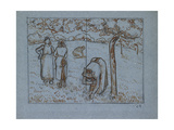 Compositional Study of Four Female Peasants Working in an Orchard ('Spring') Reproduction procédé giclée par Camille Pissarro