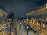 The Boulevard Montmartre at Night, 1897 Gicléedruk van Camille Pissarro