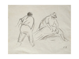 Studies of a Male and a Female Harvester Reproduction procédé giclée par Camille Pissarro