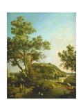 English Landscape Capriccio with a Palace, 1754 Impressão giclée por  Canaletto