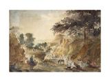 Landscape with Figures by a River, 1853 - 1854 (Watercolour over Pencil) Reproduction procédé giclée par Camille Pissarro