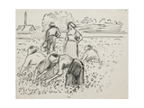 Study of Five Peasant Figures Working in a Field, 1887 Reproduction procédé giclée par Camille Pissarro