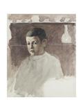 Half-Length Portrait of Lucien Pissarro (1863-1944), C. 1875 (Watercolour over Charcoal) Reproduction procédé giclée par Camille Pissarro