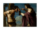 Apollo and Marsyas, 1616–20 Giclée-tryk af Bartolomeo Manfredi