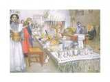 On Christmas Eve, the Huge Long Table in the Big Hall Is Absolutely Covered with the Food Giclée-tryk af Carl Larsson