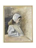 Jeanne-Rachel Pissarro Seated at a Table, C. 1872 (Watercolour over Black Chalk) Reproduction procédé giclée par Camille Pissarro