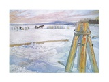 Johan Fetched Brunte (Horse) to Collect Blocks of Ice Giclée-tryk af Carl Larsson