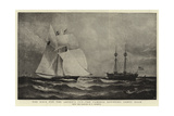 The Race for the America Cup, the Cambria Rounding Sandy Hook Giclee Print by Charles Ricketts