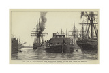 The War in Egypt, Engines from Alexandria Passing Up the Suez Canal to Ismailia Giclee Print by Charles William Wyllie
