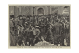 Distress in London, Unemployed Waiting at a Soup Kitchen for the Doors to Open Giclee Print by Charles Joseph Staniland