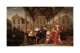 A Merry Company Playing Music under a Flowered Porch in a Garden Lámina giclée por Dirck Hals